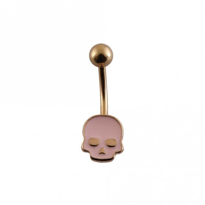 PVD Rose Gold Plated Pink Skull Belly Bar