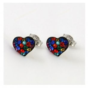 Rainbow Disco Heart Ear Stud