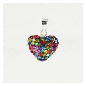 Rainbow Disco Heart Pendant