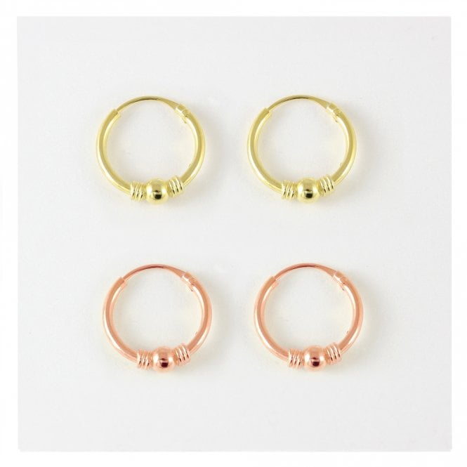 Rose Gold and Gold 12mm Bali Hoops