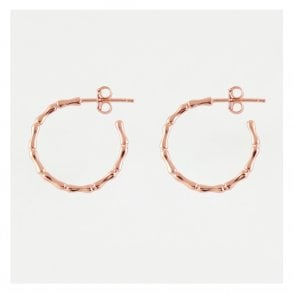 Rose Gold Bamboo Half Hoop Earrings