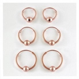Rose Gold BCR Sparkly Hoop Earring 10 - 14mm