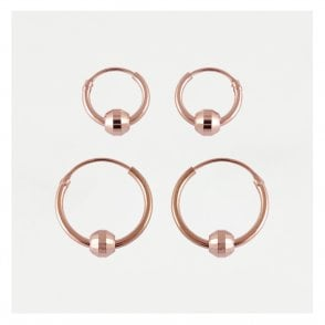 Rose Gold BCR Sparkly Hoop Earring 10mm & 14mm