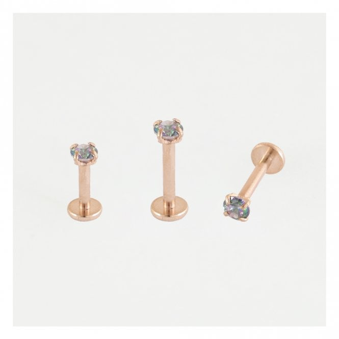 Rose Gold Claw Set Rainbow Zircon Labret