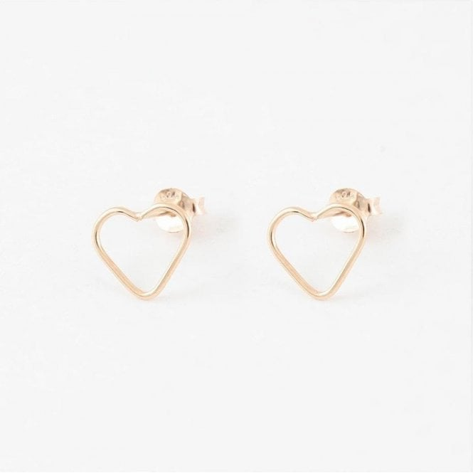 Rose Gold Cut Out Heart Studs