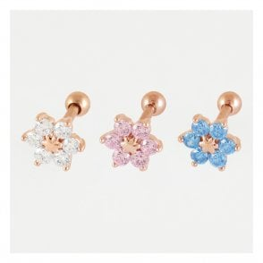 Rose Gold CZ Cluster Ear Bar