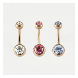 Rose Gold Double Jewelled Belly Bar