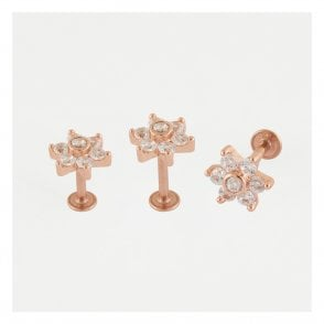 Rose Gold Gem Set Flower Labret