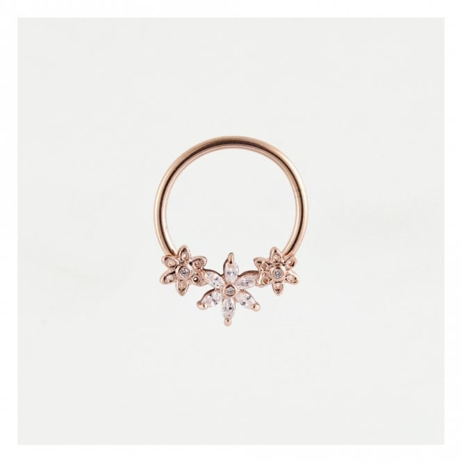 Rose Gold Gem Set Flowers Nipple Ring