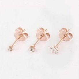 Rose Gold Gemset Round Studs