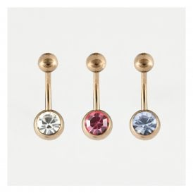 Rose Gold Jewelled Belly Bar