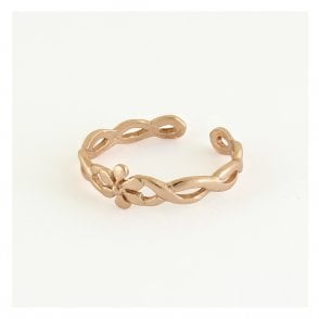 Rose Gold Ornate Flower Toe Ring