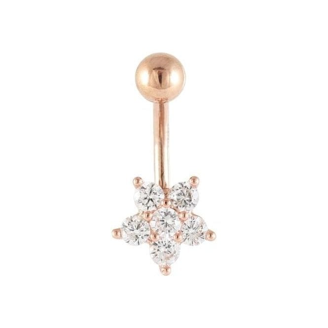 Rose Gold Small Flower Belly Bar