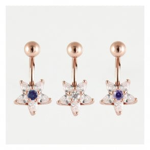 Rose Gold Star Flower Cluster Belly Bar