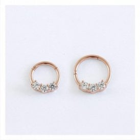 Rose Gold Triple Gem Hinged Segment Ring - 1.2mm