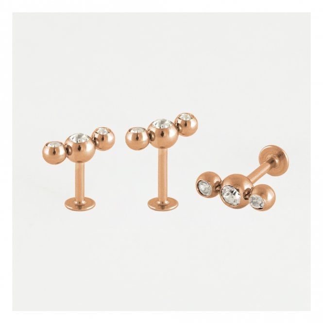 Rose Gold Triple Round Gemset Labret