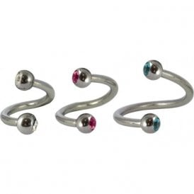 Steel Jewelled Spiral - 1.2mm