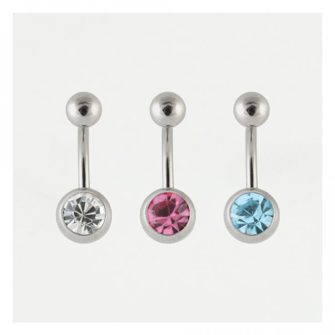 Titanium Single Jewelled Belly Bar