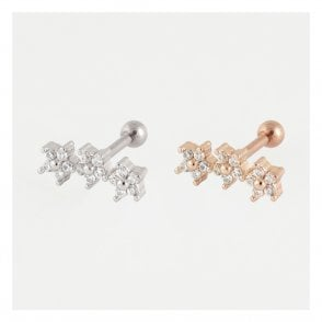 Treble Gemset Flowers Ear Bar