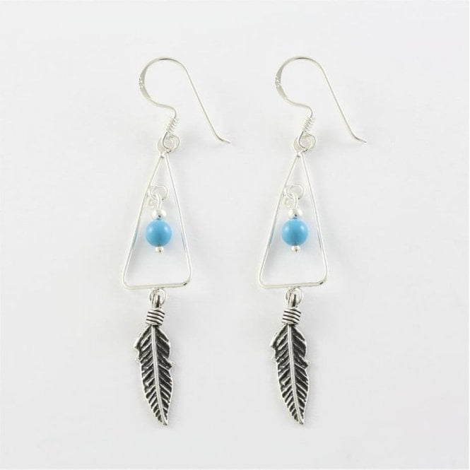 Triangle & Feather Earrings