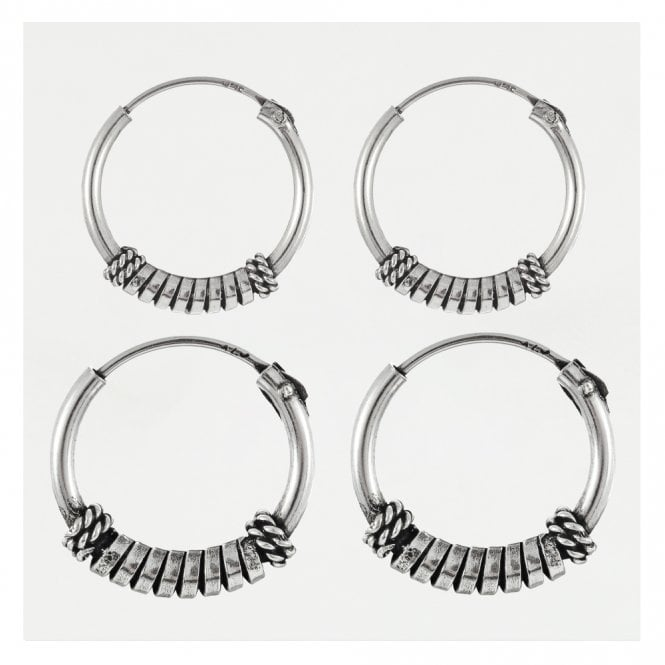 Tribal Coil Bali Hoops 12 - 14mm
