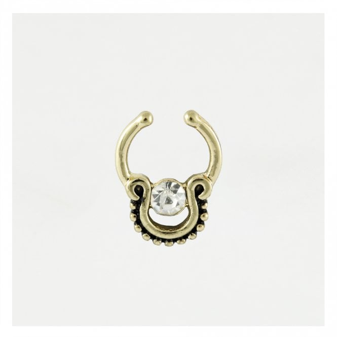 Tribal Gem Clip On Septum