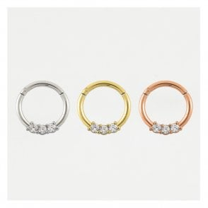 Triple Gem Hinged Segment Ring