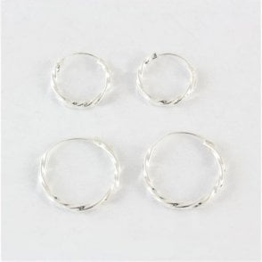 Twisted Hoop Earrings 12mm - 20mm